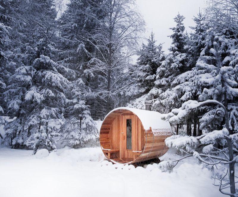 Баня бочка зимой